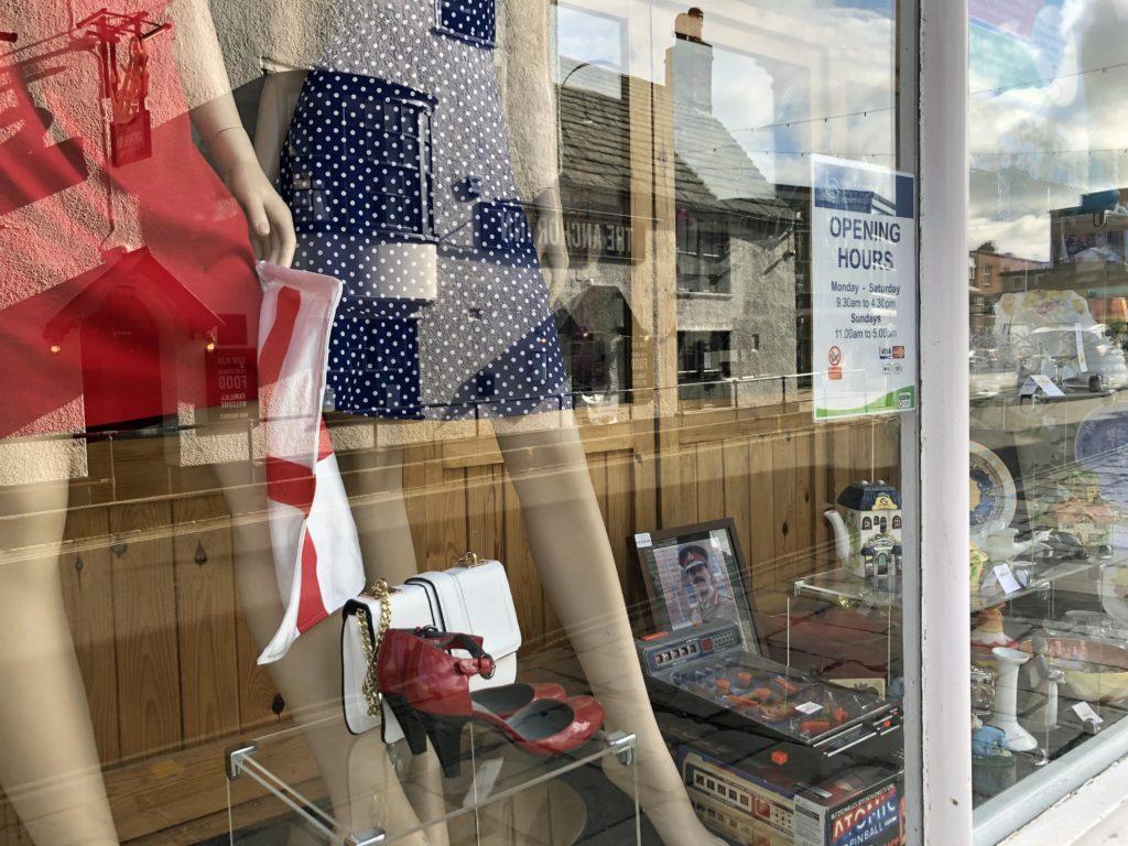 England flag in shop window