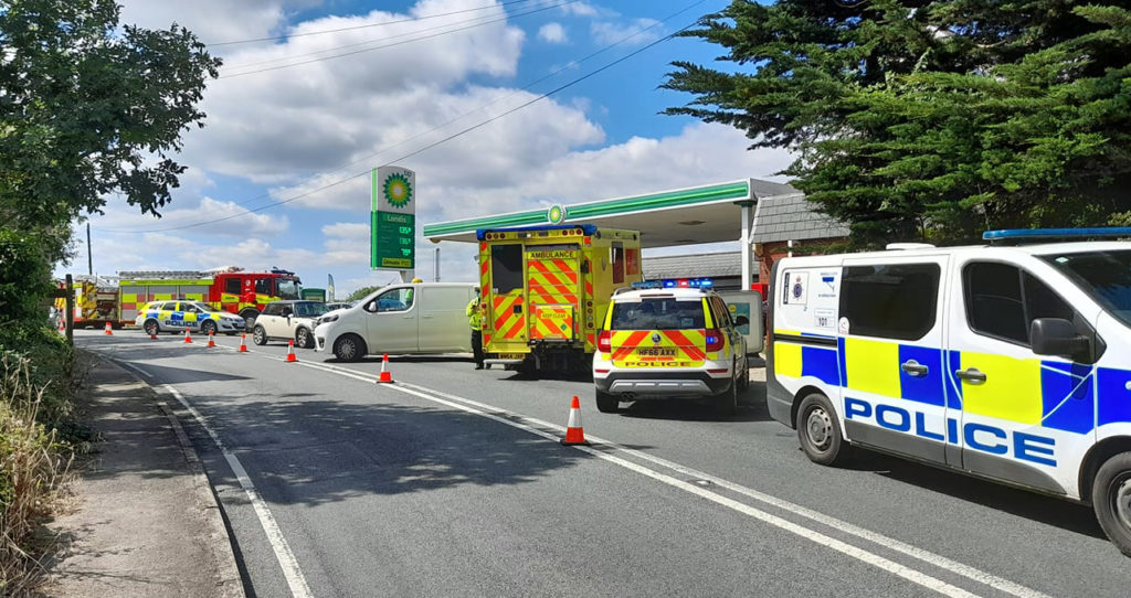 Emergency crews attend three vehicle collision at Harmans Cross