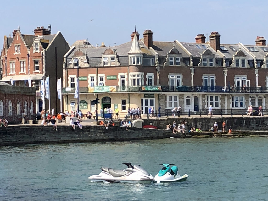 Two jetskis in front of the Square in Swanage