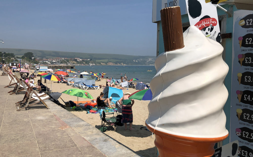 Large icecream and view of the beach