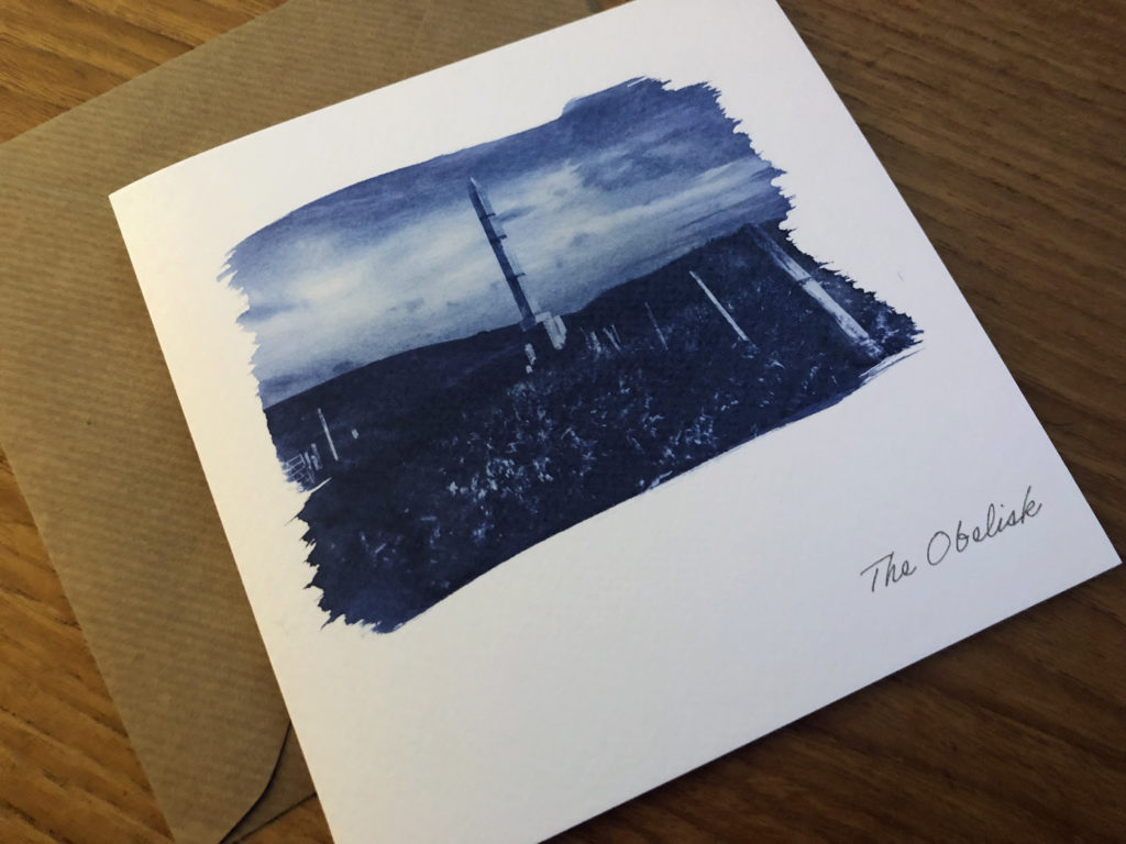 greeting card produced by cyanotype printing