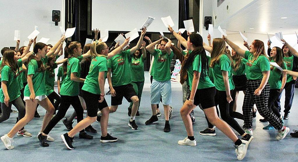 School children rehearse Little Shop of Horrors