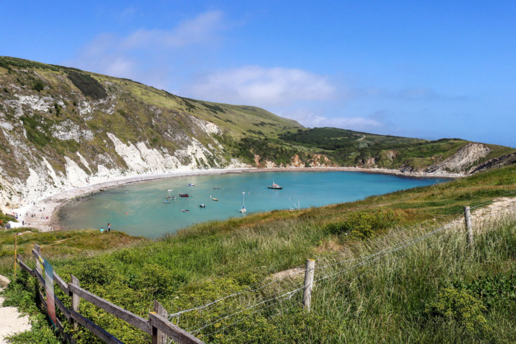Lulworth Cove viewed from the path near to Stair Hole