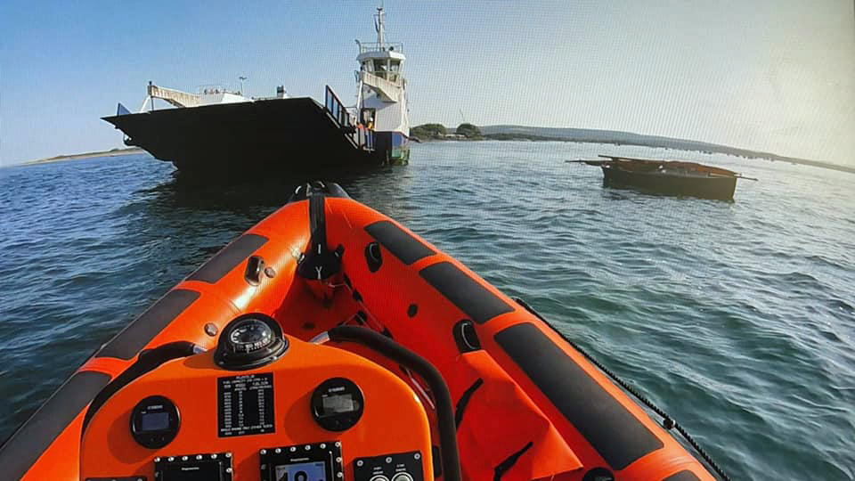 Poole lifeboat rescue yacht from ferry