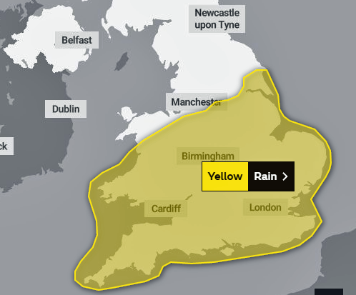 Map showing the south of England affected by the Yellow rain warning