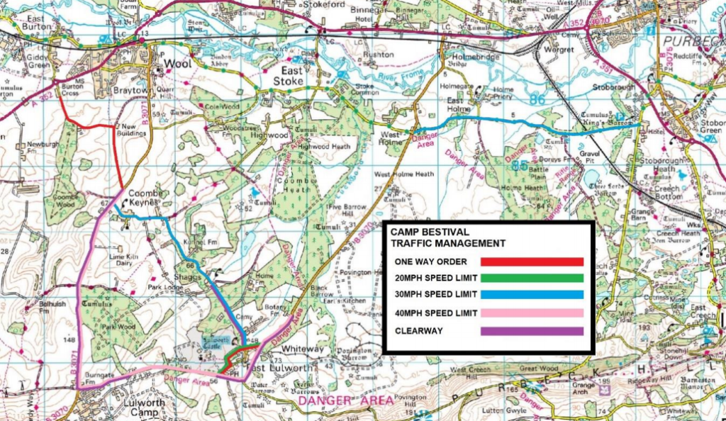 Map of the travel plan for Camp Bestival