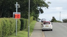 Speed indicator device on Northbrook Road in Swanage