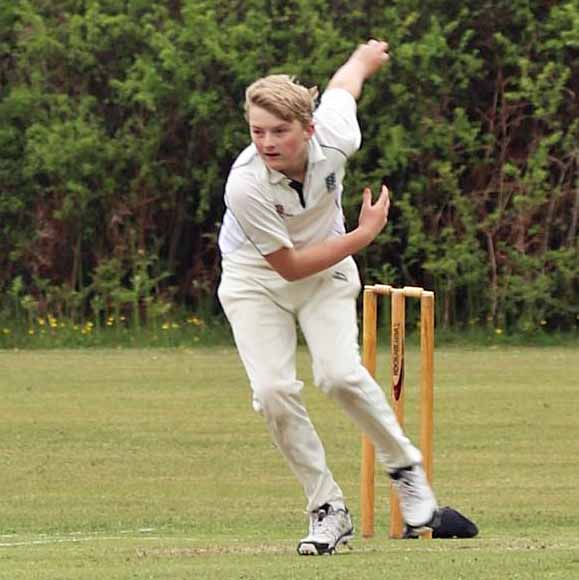 young cricketeer at Swanage Cricket club