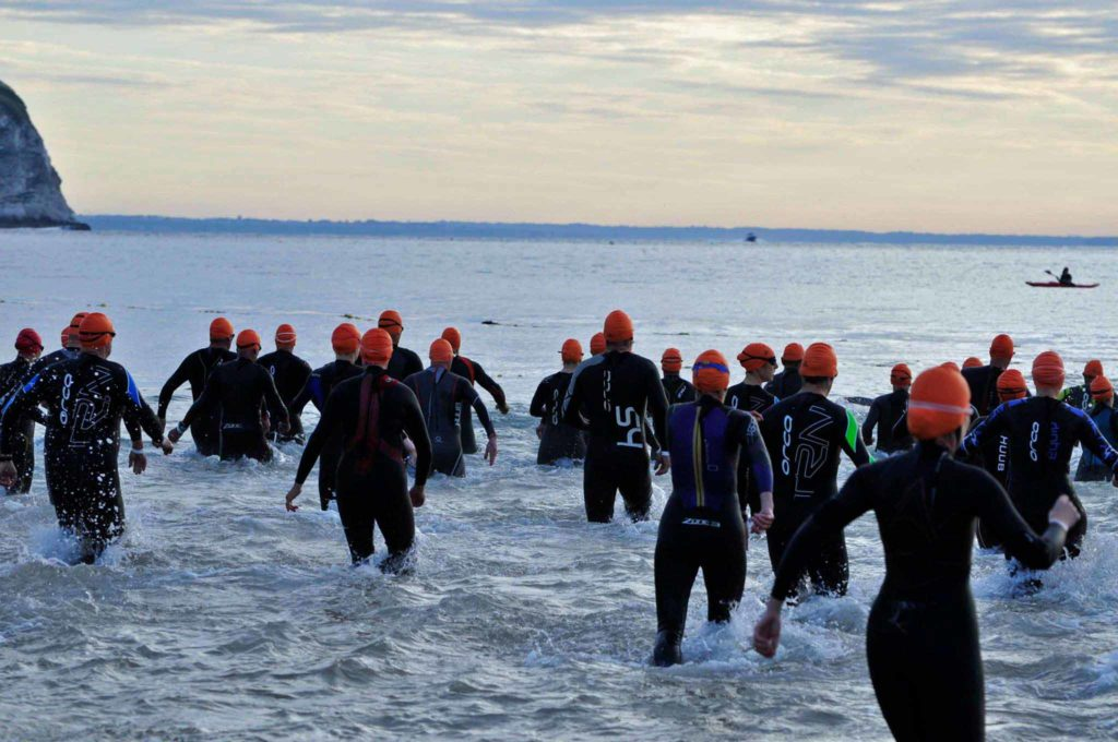 Swimmers at the Swanage Triathlon