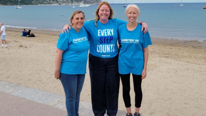 Three charity walkers