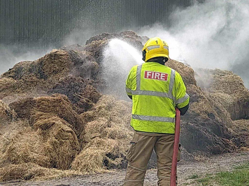 Fire in hay barn near Swanage