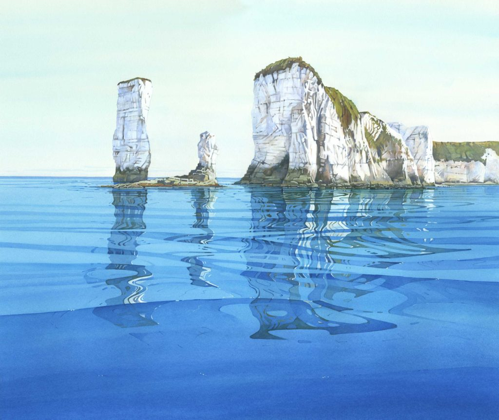 Painting by Cathy Veale of Old Harry Rocks