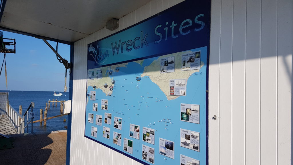 Wreck sites in Swanage bay