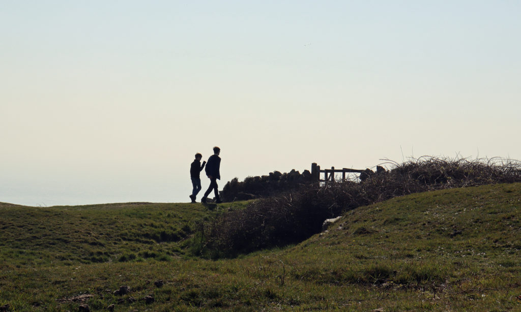 Walkers in a remote location