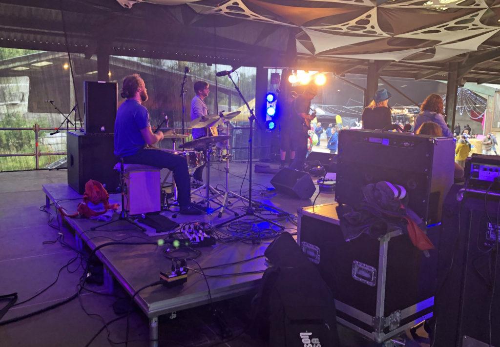Backsatge at Purbeck Valley Folk Festival 2021