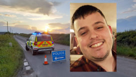 Police close road after car collision near Kingston with picture of Sam Christopher inset