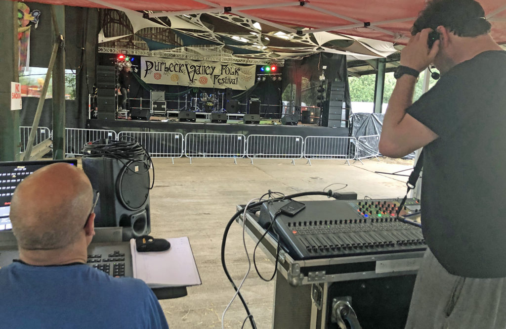 sound check at the Purbeck Valley Folk Festival 2021