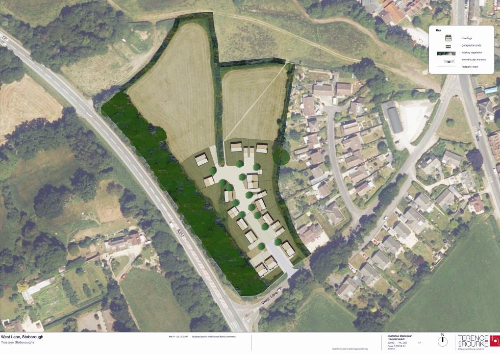 Plan of housing off West Lane in Stoborough