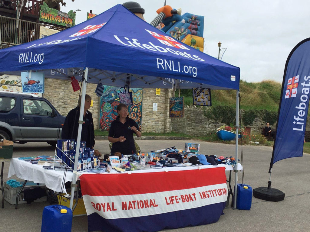 Swanage Lifeboat week stall on Swanage seafront