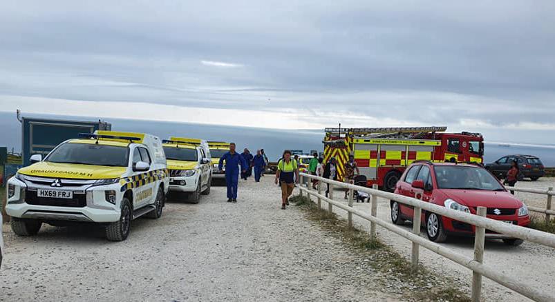 Emergency vehicles at Durdle door car park