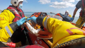 Rescue of wakeboard casualty by Swanage Lifeboat volunteers