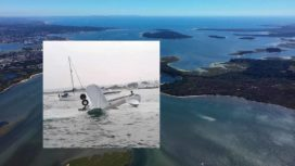 Aerial view of Poole Harbour with wingwalker plane crass inset