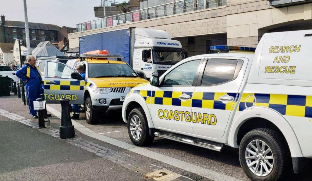 Coastguard vehicles at Poole Quay
