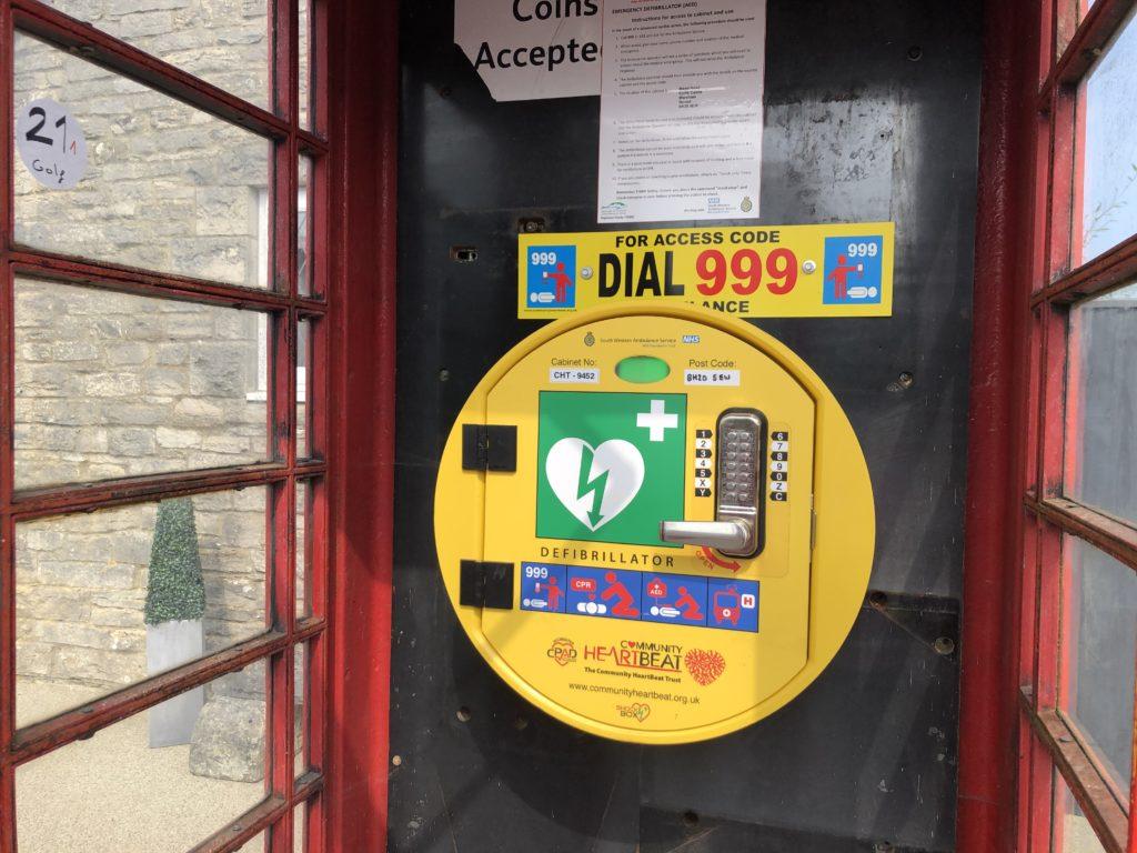 Corfe Castle phone box defibrillator