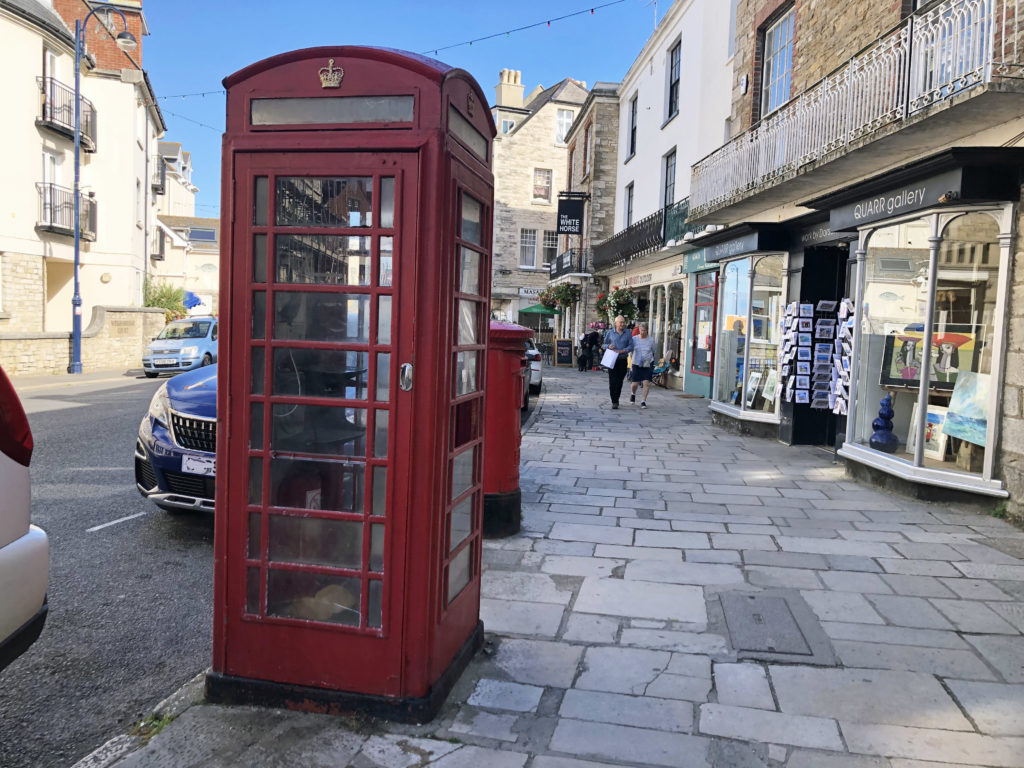 Phone box in lower High Street in Swanage