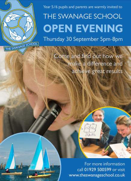 The Swanage School open evening poster