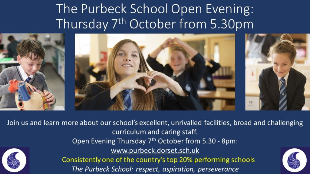 The Purbeck School open evening poster