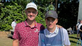 Justin Rose with Tom Bastow