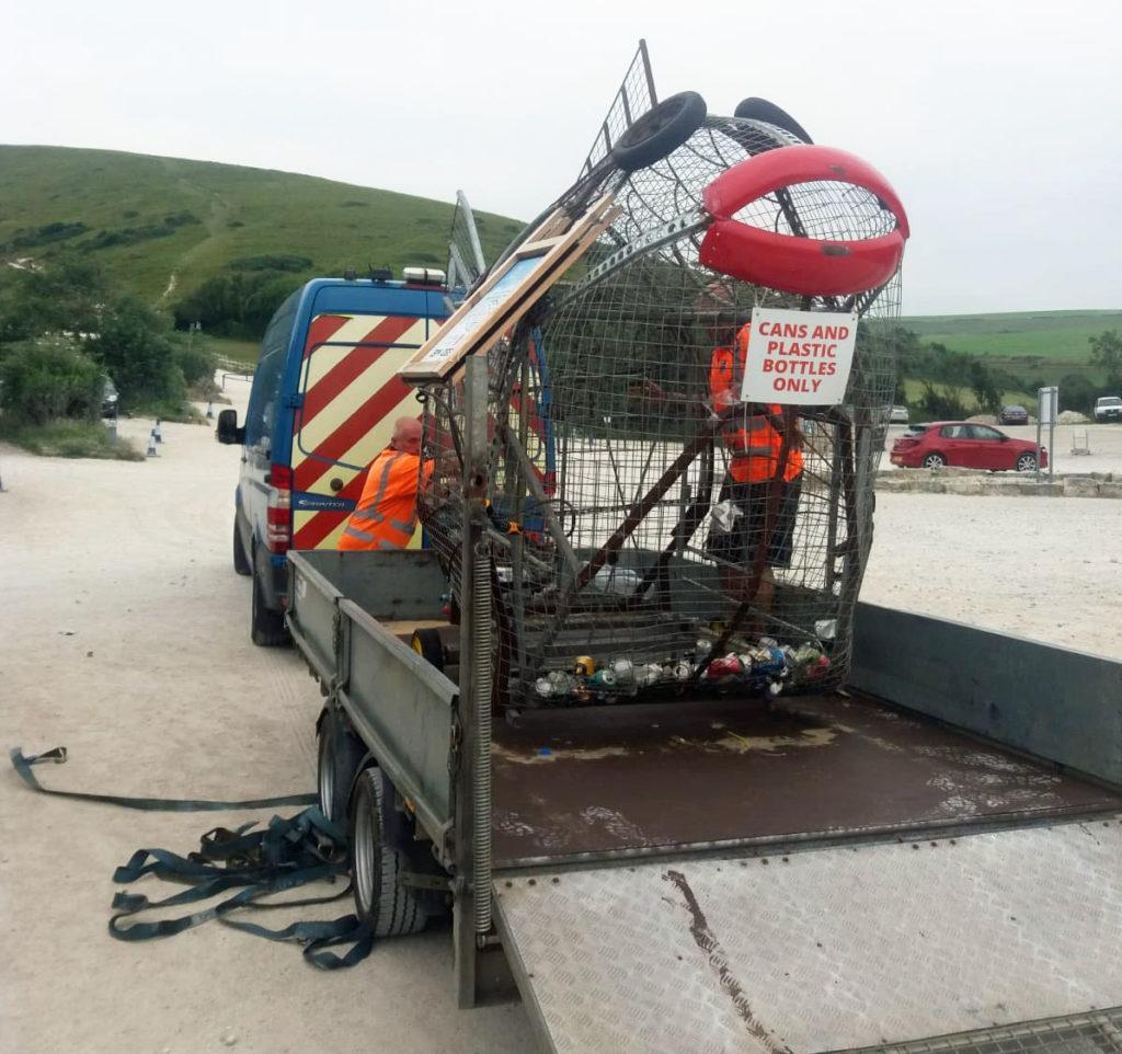 Wanda the fish recycle bin in Lulworth on a truck