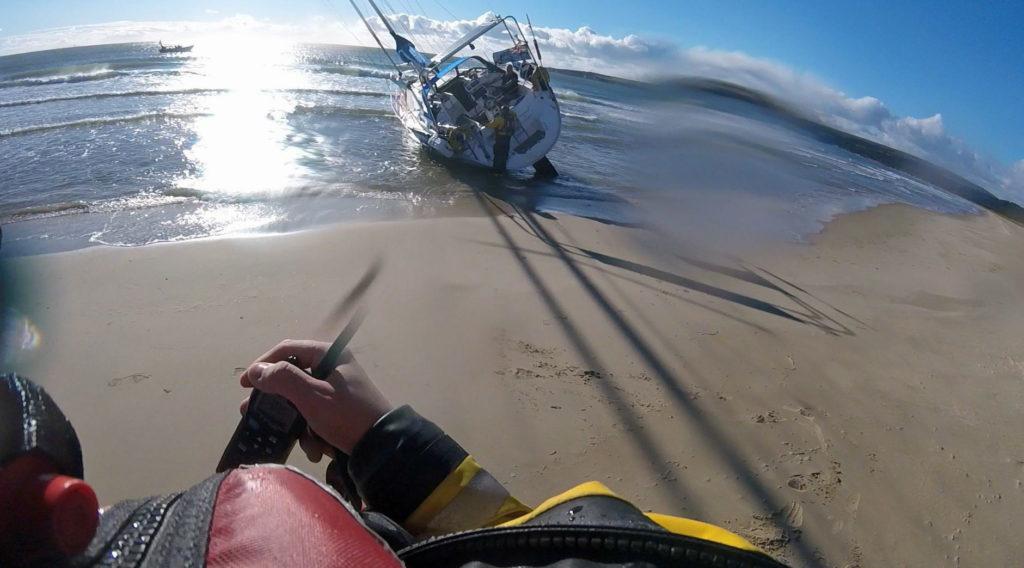 Yacht stranded on Studland beach