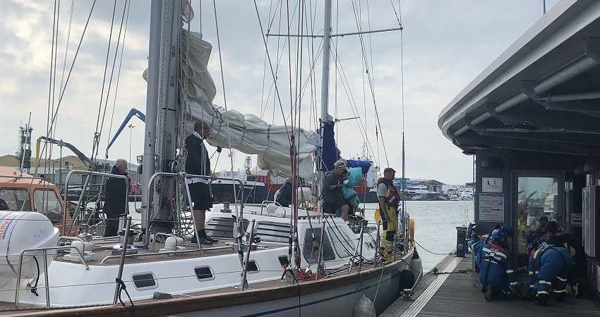 Yacht with injured crew member