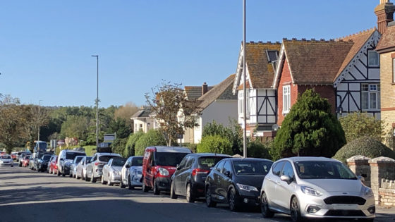 Cars parked on the road in Swanage